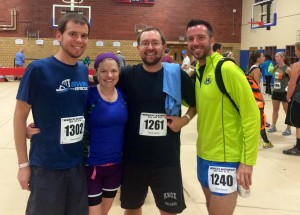 Matt Jesson (Cassie's Husband), Cassie Sampson (Spa Owner), Dan Chibnall, and Braxton Pulley (East Village Chiropractic) ran the Midnight Madness Run in Ames on 7/12
