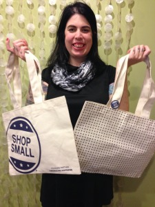 "The first 15 people to purchase a retail item on 11/29 (regardless of what kind of credit card) will get a free ""Shop Local"" bag!"