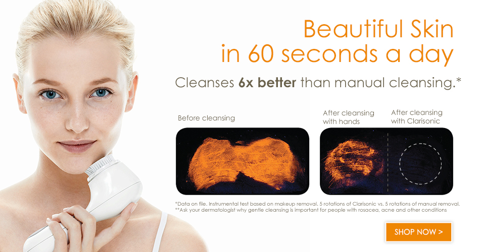 The Clarisonic Mia device cleans skin 6x more than hands alone and is available for purchase at the spa.  The Clarisonic Smart Profile cleans skin 11x more than hands alone and is an important step in our EV Signature Facials.