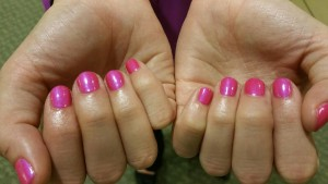 Alyssa's nails right after her CND Shellac Express Manicure with Hannah