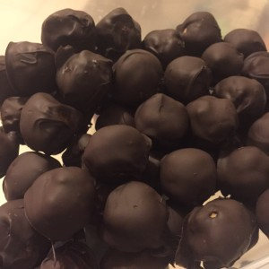 The finished protein buckeyes, ready for sampling at the Promenade (unless my husband finds them first).