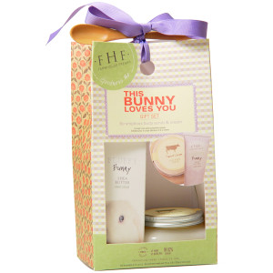This Bunny Loves You set includes a Fluffy Bunny (lavender mint) hand cream and a sweet cream salt scrub.  It is so pretty it doesn't need a basket!