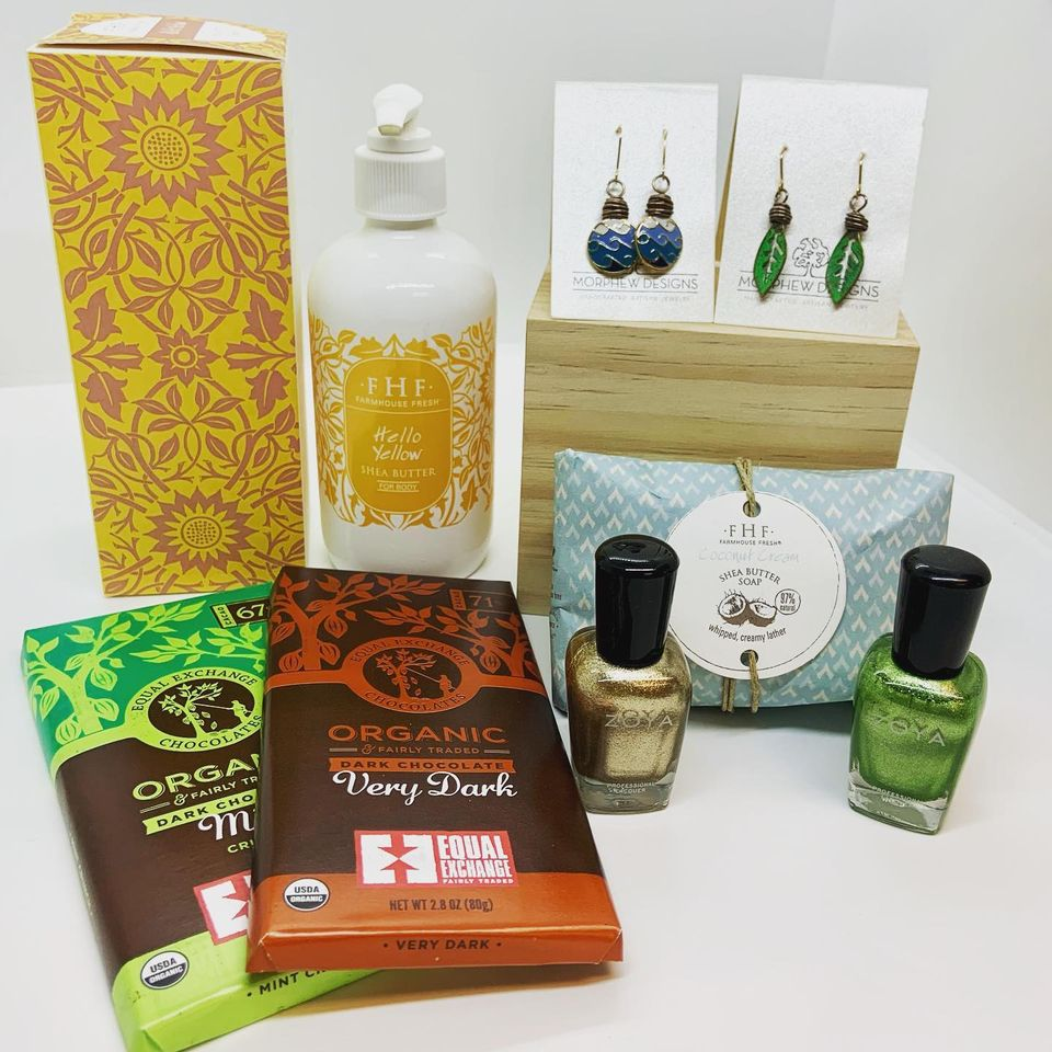 vegan and sustainable gifts from East Village Spa including chocolate, jewelry, body care, nail polish.